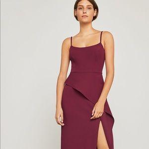 BCBG MaxAzria Steluh Peplum Gown Deep Cranberry